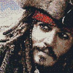 Jack Sparrow perler bead art PhotoPearls portrait (10000beads, 50x50cm) by mariathechain