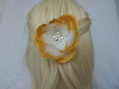 Flower Hair Piece  White Hair Piece  Gold by AKMFloralsAndCrafts