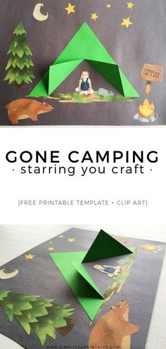 Craft Gone Camping Craft - Can be personalized with a photo of your child! Awesome summer art project for kids.Gone Camping Craft - Can be personalized with a photo of your child! Awesome summer art project for kids. Kids Crafts, Preschool Crafts, Arts And Crafts, Paper Crafts, Creative Crafts, Summer Crafts For Kids, Summer Kids, Spring Crafts, Crafts For Camp