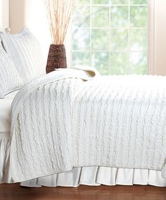 Another great find on #zulily! White Ruffle Rows Quilt Set #zulilyfinds