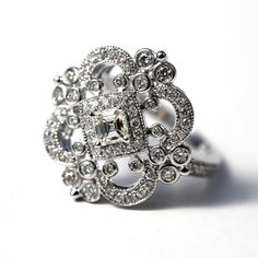 DUCHESS - Custom Made - Diamond Engagement or RIGHT Hand Ring 14K white gold - Weddings- Brides - Bp0011. $2,500.00, via Etsy.
