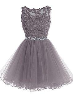 Tideclothes Short Beaded Prom Dress Tulle Applique Evenin...
