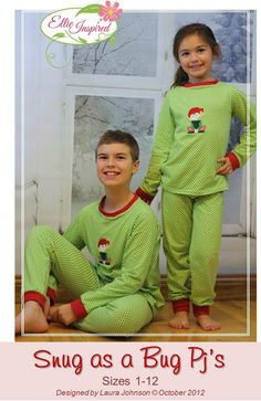 fairytale frocks and lollipops :: ellie inspired, laura johnson, snug as a bug pjs, girl, toddler, boy, unisex, child, children, child pajama sewing pattern, two-piece pajama, two piece pajama, pajama set, knit pajama, sleepwear, night wear, slumber par