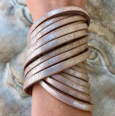 A personal favorite from my Etsy shop https://www.etsy.com/listing/557140343/metallic-silver-light-browntan-wrap