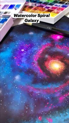 Vibrant Watercolor SpiralGalaxy