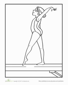 Summer Olympics Preschool Sports Worksheets: Gymnastics Coloring Page