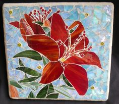 Red Lilly Stained Glass Mosaic Art by artsyphartsy (Kathleen), via Flickr