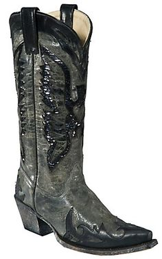 Corral® Ladies Grey Black w/ Black Sequin Eagle and Wingtip Snip Toe Western Boots | Cavender's Boot City