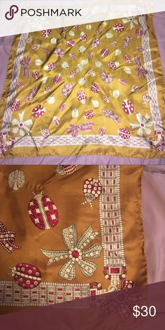 "Lucky brand silky unique scarf 100% viscose, perfect condition, cream/jewel red on gold, prints of gems, bows, pearls, and ladybugs. Square scarf, 26.5"" each side. Lucky Brand Accessories Scarves & Wraps"