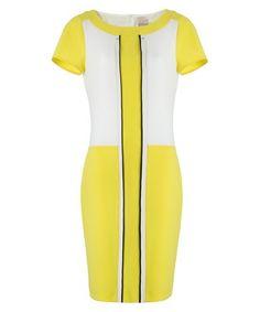 Yellow colour block shift dress Sale - PAOLA COLLECTION Sale
