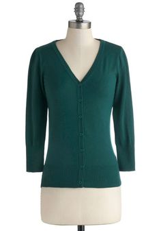 Mod Cloth -  Charter School Cardigan in Peacock. Show your style smarts in this versatile cardigan! #green #modcloth