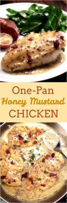 Golden pan-fried chicken is covered in crispy bacon and lip-smackingly creamy honey mustard sauce — how irresistible do those flecks of whole grain mustard look? Plus, this easy chicken dinner only takes one pan and 30 minutes. #HoneyYummy