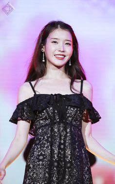 300716 IU Good Day in ChongQing cr.as tagged Iu Fashion, Korean Fashion, Korean Celebrities, Celebs, Korean Girl, Asian Girl, Pretty Black Dresses, Stage Outfits, Korean Outfits
