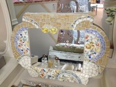 Made with Vintage China and Glass... all cut by hand !! The mirror, including the frame, measures 23 1/2\ x 17 1/2\ and can hang either way. Let me know which way you want it to hang and I will install the wire.  ** MOSAIC MIRRORS CAN BE CUSTOM MADE IN ANY SHAPE AND SIZE... IN ANY COLOR  COMBINATION. YOU CAN EVEN BRING ME DISHES YOU WOULD LIKE TO  INCORPORATE INTO THE DESIGN. ALLOW 4 - 6 WEEKS F
