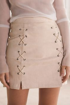 Lace-Up Front Basic Skinny Fitted Women's Bodycon Mini Skirt
