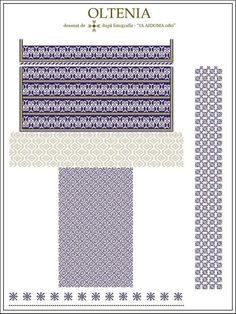 Ie Oltenia - SemneCusute. Embroidery Motifs, Embroidery Designs, Palestinian Embroidery, Embroidery Techniques, Cross Stitching, Beading Patterns, Romania, Pixel Art, Cross Stitch Patterns