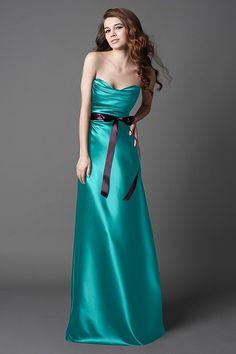 Tiffany Duchess Satin floor length dress with draped bodice, a-line, bias skirt and plum ribbon sash. $198