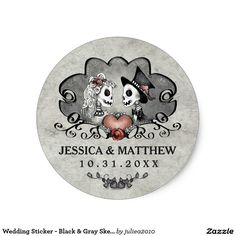 Visit: http://jagifts.us/HalloweenSkeletonsGrayBlackCircularWeddingLabel - Wedding Sticker - Black & Gray Skeletons by Julie Alvarez Designs. Easily customize and order direct thru Zazzle. Matching items also available. #halloweenweddings #skeletons
