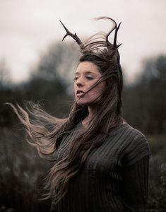 antlers, beautiful, deer, dreamy, girl - image #265939 on Favim.com