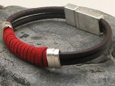 FREE SHIPPING Men's leather bracelet . Brown and red leather men's cuff bracelet with silver plated spacers and magnetic clasp