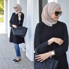 leena asad black tunic, Street styles hijab looks…