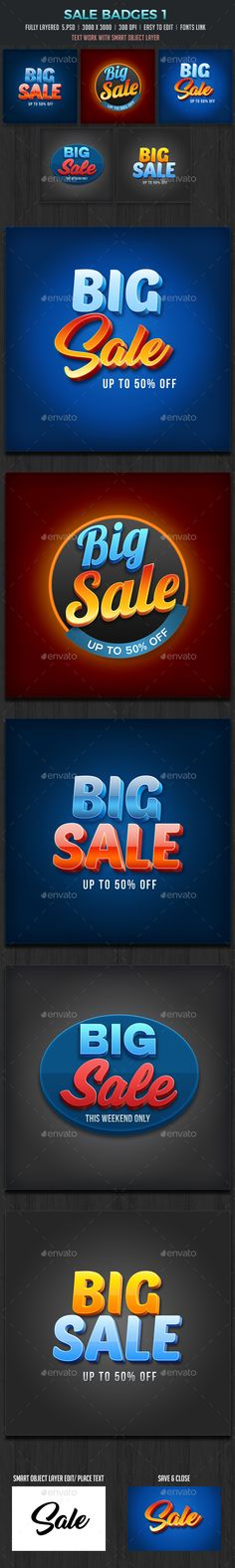 Sale Badges 3D vol1 2000x2000 pixels 300 dpi Main text work with Smart object layer 100 Photoshop Vector layers 5 Fully Layer