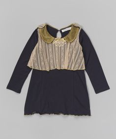 Take a look at this Navy & Peach Lace Overlay Dress - Toddler & Girls on zulily today!