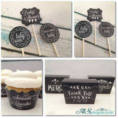 chalkboard baby shower cupcake toppers!
