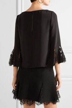 Oscar de la Renta - Lace-trimmed Silk Crepe De Chine Blouse - Black - US