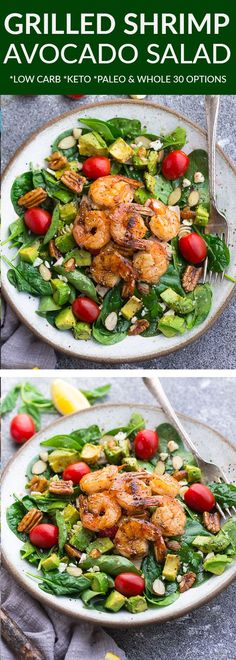 Spinach Avocado Shrimp Salad a light and healthy & flavorful dish perfect for lunch or a light dinner. Made with grilled shrimp spinach avocado cherry tomatoes pecans almonds and a homemade poppy-seed dressing. Low Carb keto paleo & Whole 30 compliant. Lunch Recipes, Seafood Recipes, Paleo Recipes, Shrimp And Spinach Recipes, Avocado Dessert, Shrimp Avocado Salad, Seafood Salad, Salad With Shrimp, Avocado Salads