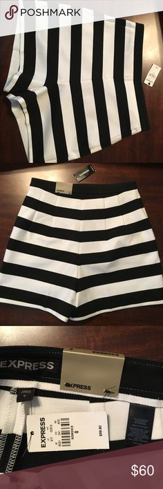 Express high waisted striped shorts Express high waisted stripe shorts size 0. New with tags. Never worn, no flaws. Sadly just don't fit anymore and I never wore them.  photo of person wearing shorts is just inspiration for a outfit not my personal photo. Express Shorts