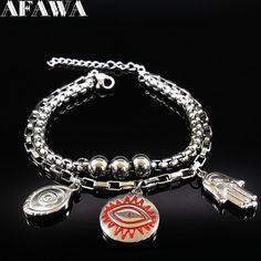 2017 Stainless Steel Bracelets Bangles Women Hamsa Hand Evil Eye Bracelet Jewelry pulseras acero inoxidable mujer B17672B #Affiliate