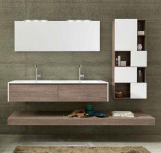 Mobile bagno sospeso in Rovere Castoro con elementi a vista Tulle Archeda
