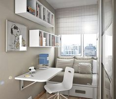 ♥ jmk says:- Small room design, table folds down and bed pulls out. Would be great in student accomodation blocks.