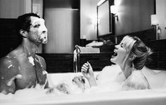 bangs, bath, bathing, black, black and white, blonde hair, bubble, bubble bath, bubbles, clean, couple, cute couple, holding hands, love, messy bun, romance, romantic, shower, together, tumblr, white, young love, shower together, blonde hig