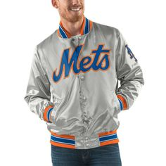 New York Mets G-III Sports by Carl Banks Start the Closer Full Snap Jacket - Gray - $99.99