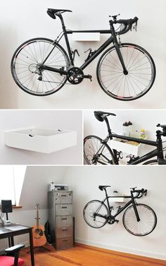 porte vélo mural avec rangement qu'on peut fabriquer soi-même à la maison