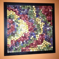 Dyed wine corks made into a picture. Saw this at Merge restaurant on Amelia Island, Florida. Wine Craft, Wine Cork Crafts, Wine Bottle Crafts, Diy Arts And Crafts, Diy Crafts, Wine Bottle Corks, Bottle Caps, Wine Cork Projects, Wine Cork Art