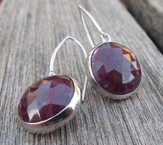 Gorgeous Ruby Earrings- Ruby Dangle Earrings- Earrings- Ruby Silver Earrings- July Birthstone Earrings- Red Stone Earrings- Silver Earrings on Etsy, $149.99