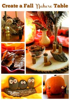 Create a Fall Nature Table - A nature table is a place in the home dedicated to placing items found in the natural world and other objects that reflect the season. It is most often a table, corner or shelf that is meant to be manipulated, played with, and enjoyed. There are many wonderful ways to design a nature table. The space you will use, your interests and values, the resources you have available, and the ages of your children will all influence the nature table you create.
