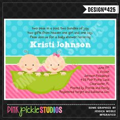 Twin Pea Pod Personalized Party Invitation-personalized invitation, photo card, photo invitation, digital, party invitation, birthday, shower, announcement, printable, print, diy,Twins, baby shower