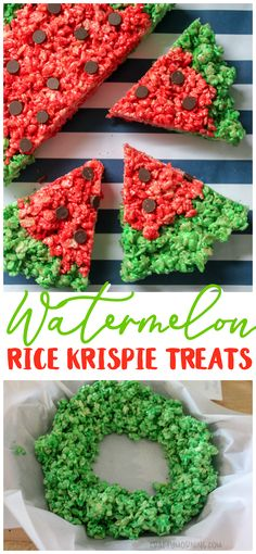 Make fun watermelon rice krispie treats for the kids! Summer treats/desserts idea for a picnic or bbq. Use chocolate chips for the seeds! Rice krispie treats idea.