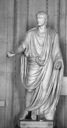 Statue of the Emperor Tiberius showing the draped toga of the 1st century AD.
