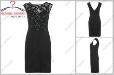 V back sleeveless Knee length black lace beaded  by chiffonlikes, $115.00