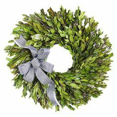 """Preserved myrtle and moss wreath with a black and white striped ribbon.  Product: Preserved  wreathConstruction Material: Silicone, natural twigs and ribbonColor: GreenFeatures: Includes preserved myrtle and mossDimensions: 18"""" Diameter x 3"""" D Cleaning and Care: Wipe gently with a dry cloth"""
