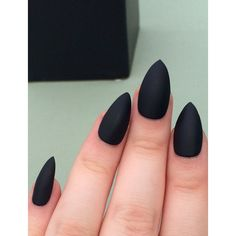 Matte black nails, stiletto nails, fake nails, ($11) ❤ liked on Polyvore featuring beauty products, nail care and black beauty products