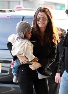 Adoptive mom Sandra Bullock with son Louis