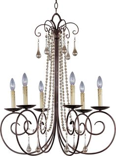 Crystal chandelier $598. South Shore Decorating: Maxim Lighting 22206UR Adriana Transitional Chandelier MX-22206-UR