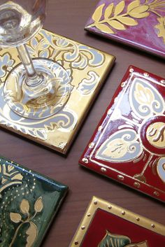 Coasters with Gold. Hand painted.