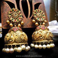 Big Gold Jhumkas, Big Antique Jhumkas, Big Bridal Jhumkas.
